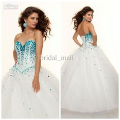 Wholesale Prom Dresses - Buy Princess Stylish Lovely Turquoise Sequens Puffy Ball Gown Sweep Train Quinceanera Prom Dresses JA117, $105.55 | DHgate