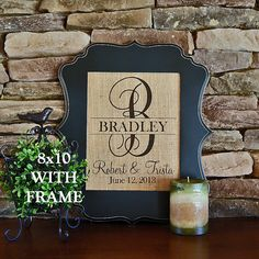 Burlap Print with Frame Personalized Burlap by SandyBranchCompany