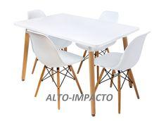 mesa y 4 silla herman miller dsw eames base madera