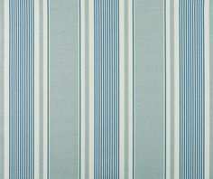 French Ticking in Duck Egg and Denim by Vanessa Arbuthnott -- £45 per metre -- aqua, navy blue and cream striped fabric
