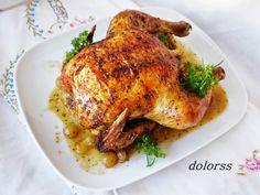 Blog de cuina de la dolorss: Pollo de corral aromático con uvas, al horno