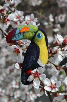"""Купить Брошь валяная """"Тукан"""" - разноцветный, брошь, украшение, аксессуар, тукан, птица, райская птица"""