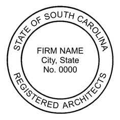 """This is the standard example of the #South #Carolina #Firm #Architect Seal. The typical size for this seal is 1-3/4"""" in diameter."""