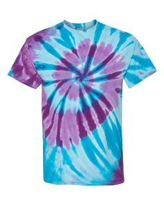 3XL Hand Crafted TIE-DYE T-shirt NEW Blue w// Purple Aqua Black PEACE SIGN  Sm