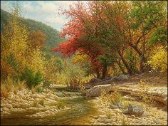 Fall colors and stream. An oil painting by William Hagerman titled Traits of Autumn