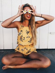 $45 Cute Bright Yellow Floral Patterned Halter Tie Neck One Piece Romper Jumpsuit Beach Summer Street Style Tumblr