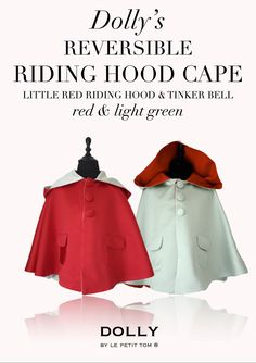 DOLLY by Le Petit Tom ® REVERSIBLE RIDING HOOD CAPE Little Red Riding Hood & Tinker Bell