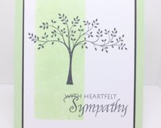 Items similar to Condolence/sympathy card stamped blank espresso brown vanilla handmade stationery greeting card home and living Stampin Up on Etsy