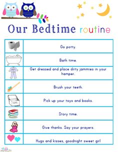 Kids' Morning, Bedtime, and Ready-for-School Free Printables Free printable lists to help kids get into a morning and bedtime routine, and to make sure they're ready to leave for school every morning. Morning Routine Printable, Bedtime Routine Chart, Morning Routine Chart, Morning Routine Kids, Morning Morning, Night Routine, Toddler Routine, Toddler Schedule, Toddler Bedtime