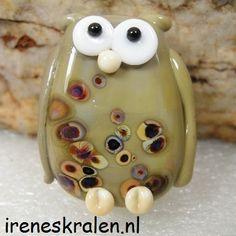 Lampwork Bead Owl Taupe handmade glassbead make a by IrenesBeads, €6.95