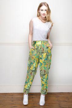 Vintage 80's graphic print joggers - Trousers - Womens Vintage | Retro & Vintage Clothes UK
