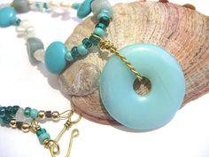 Turquoise necklace moonstone pearls amazonite by SunshineDaydreamz