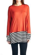NWT 82 Days Womens Rayon Long Sleeves Tunic Stripe Contrast Loose Fit RUST Small