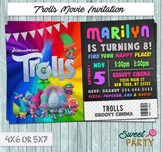 Dreamworks Trolls 2016 Movie Ticket Invitation - You Print Party File  You will receive a high resolution JPG or PDF file to print at home, or at a print shop or photo lab  Customized with your party info!  /// HOW TO ORDER ///  > Add invitation to your cart > In notes to seller at checkout