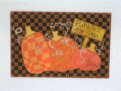 Autumn   Quilted Appliqued Fabric Postcard   SALE by postquilts