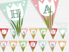 Happy Easter printable banner  party bunting  by ArigigiPixel, $5.99