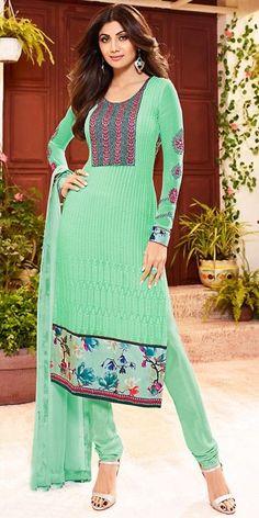 Brilliant Green Georgette Salwar Suit.