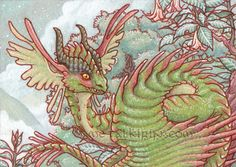 Montaine Wyvern ACEO. Watercolor, acrylic and gel pen on Stonehenge paper. April 2011  Prints available here: https://www.etsy.com/shop/TealNewcombArt