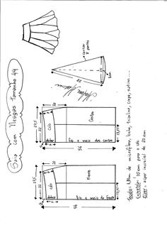 Esquema de modelagem de saia com nesgas e cós anatômico tamanho 44.
