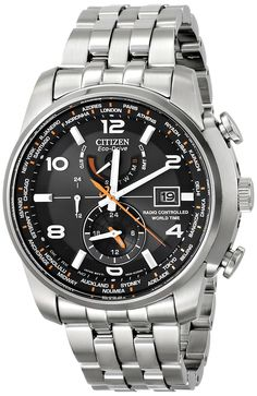 "Amazon.com: Citizen Men's AT9010-52E ""World Time A-T"" Stainless Steel Eco-Drive Watch: Watches"
