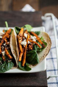 Crispy Quinoa and Mole Sweet Potato Tacos via @erin (naturally ella)
