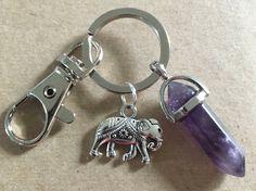 Elephant Amethyst Crystal Gemstone Keychain by MyAdorableAccessory