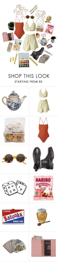 """""""Lets go to the beach"""" by caroline-is-pop-punk ❤ liked on Polyvore featuring Mara Hoffman, MNKR, Anya Hindmarch, Chunk, Hermès, Royce Leather and vintage"""