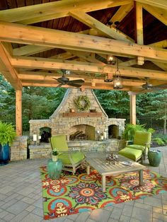 this is a beautiful fireplace and open ceiling in an outdoor space