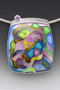 Square Abalone Pendant: Anna Tai: Enameled Necklace - Artful Home