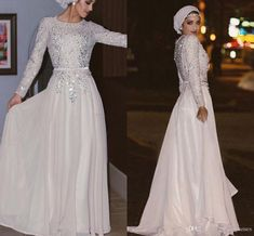 1eedab94642 Sparkly Long Sleeves Muslim Evening Dresses Sequins Crystal Chiffon Floor  Length Silver White Prom Dresses Arabic Abaya Party Dresses Unusual Evening  ...