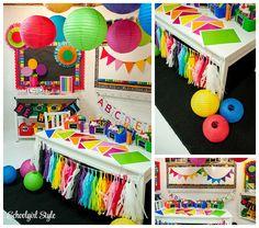 Happy Rainbow Chalkboard By Schoolgirl Style Schoolgirlstyle Classroom Decor Theme School Bulletin Board