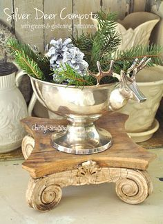 ChiPPy! - SHaBBy! HoLiDay Adorned Silver Deer Compote...