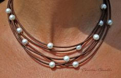 Pearl and Leather Necklace 5 Strand Brown por ChristineChandler