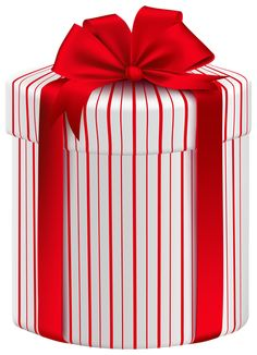 Large Gift Box with Red Bow PNG Clipart Image
