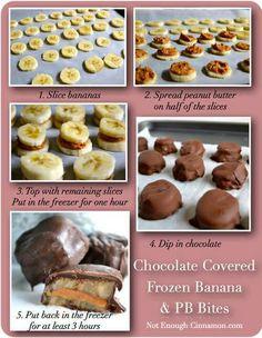 Chocolate Covered Frozen Banana  PB Bites