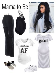 """Beautiful And Pregnant"" by kotnourka ❤ liked on Polyvore featuring Boohoo, adidas Originals and Chanel"