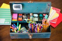 32 Back-to-School Organization Tips That Will Simplify Your Life - Create a homework station by filling a supply bin with everything your kids need to do their homework. College School Supplies, School Items, School Supplies Organization, Organization Hacks, Organizing School, Office Supplies, Organizing Tips, Back To School Hacks, School Fun