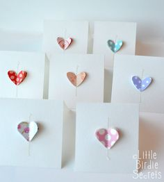 Love Notes {easy note cards} | Little Birdie Secrets... I decided on this quick and easy design that is also a great paper stash-buster. They'd also make great last-minute Valentines and are perfect to have on hand for gifts! 1. Raid your paper scrap stash. Even little bitty leftovers will work. Now punch three of the same shape with a paper punch. Sometimes my three were from the same paper, sometimes they weren't.