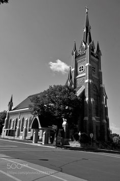 a church in shakopee mn. by PatrickHume1 - churchsunarchitecturesummercathedraltown hallbell towerminsterchatedralB&W