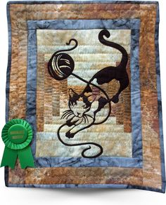 """Cat on The Courthouse Steps"" by Marsha Saracco. 2015 Quilt Show - Glendale Quilt Guild.  Laser cut silhouette, see: http://www.sewmanyideas.com/module/class.htm?classId=83748"