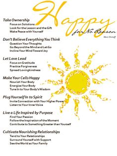 Highly Recommend Marci Shimoff Happy for No Reason Course - Image created to paraphrase Marci's 7 Happiness Habits and use of Sun Clip Art from Microsoft