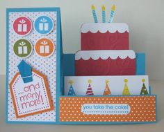 Could do this for many occasions Handmade Birthday Cards, Happy Birthday Cards, Greeting Cards Handmade, Fancy Fold Cards, Folded Cards, Pop Up Cards, Cool Cards, Side Step Card, Step Cards