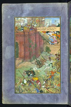 The siege and battle of Isfarah. Babur and his army assaults the fortress of Ibrāhīm Sārū