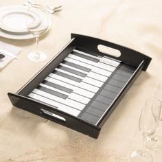 Piano Keyboard Design Serving Tray