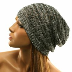 040d509a04b Light Thin Vented Soft Knit Long Beanie Slouchy Slouch Skull Hat Cap Black  White at Amazon Women s Clothing store