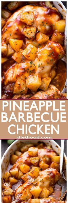 Pineapple Barbecue Chicken - You're only a few ingredients away from this amazing, juicy, and SO delicious meal prepared with chicken, pineapples and barbecue sauce! Git 'er done!