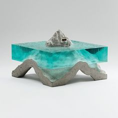 Artist Ben Young brings the magic of the sea back to land with his stunning hand-sculpted glass and concrete art. Concrete Sculpture, Concrete Art, Blue Angels, Solitude, Sculpting, Sculptures, Artsy, Fine Art, Art Prints