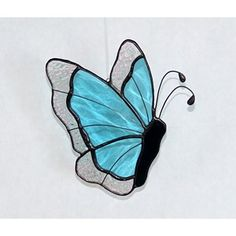 Butterfly Suncatcher in Light Blue and Clear Stained Glass