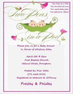 Cute twin baby shower invitation!