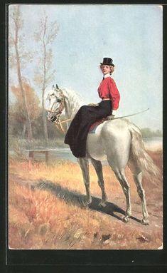 Alte Ansichtskarte: AK Fuchsjagd, Elegante Reiterin zu Pferd Fuchs Silhouette, Horse Silhouette, Vintage Horse, Vintage Art, Horse Artwork, Poetry Art, Horse Carriage, Horse Drawings, Horse Photos